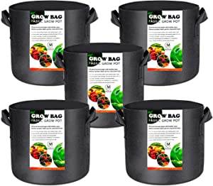 MOZUVE 5 Pack 7 Gallon Plants Grow Bags for Vegetables, Heavy Duty Fabric Plant Grow Pots with Handles, for Vegetable, Flower, Plants, Potato, Garden Bags with 5 pcs Plant Labels