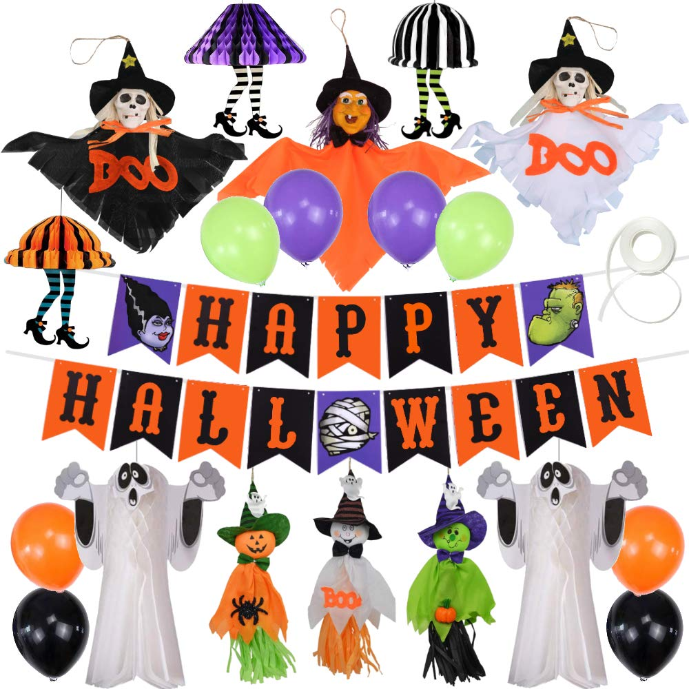Halloween Decorations | Happy Halloween Banner | Hanging Party Decor Set Pumpkin Skeletons Witch Skirt Legs Ghosts | Multi-Color Balloons | Fun Accessories Pack of Cute Party Supplies for Kids or Adults by Joyify