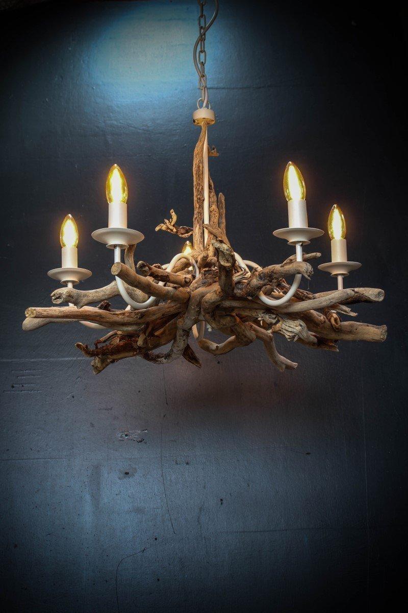 Driftwood chandelier, Driftwood Branch light Fitting, Five light chandelier with adjustable chain, Drift Wood Lighting