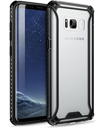 Poetic Affinity Slim Fit Galaxy S8 Case with Anti-Slip Side Grip and Reinforced Corner Protection Bumper for Samsung Galaxy S8 Black/Clear