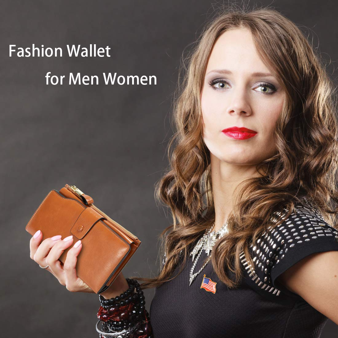 Women\'s Wallet, RFID Blocking Large Capacity Clutch Purse, Genuine Leather Card Holder, Brown