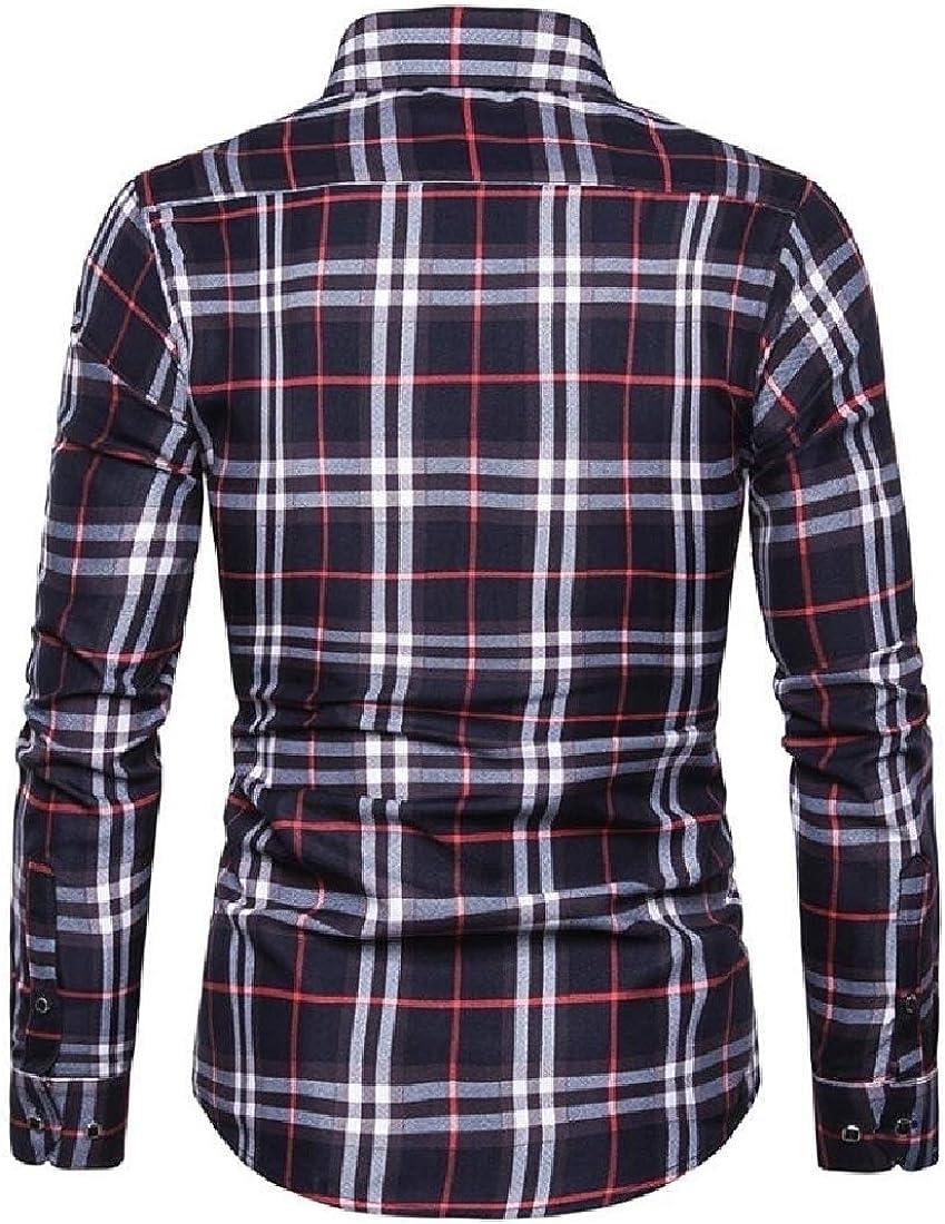 HANA+DORA Men Button Down Shirts Cotton Long Sleeve Shirts Regular Fit
