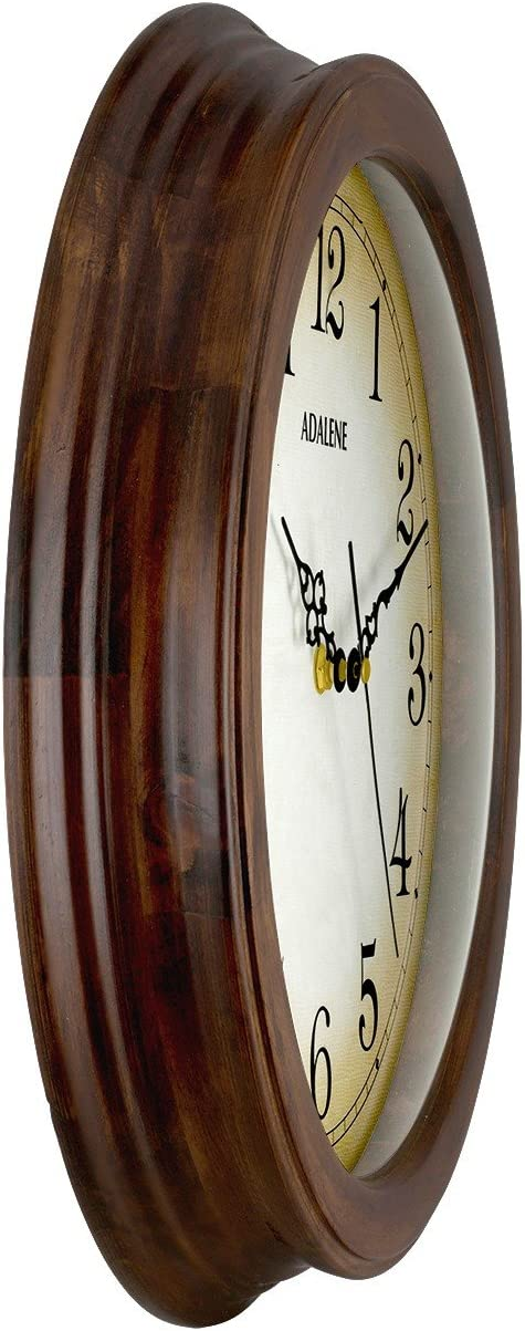 Adalene Wall Clocks Large Decorative For Living Room Decor 14 Inch Wooden Frame – Quiet Battery Operated Wood Wall Clock Silent Non Ticking Analog Quartz Movement, Large Numbers, For Kitchen, Bedrooms