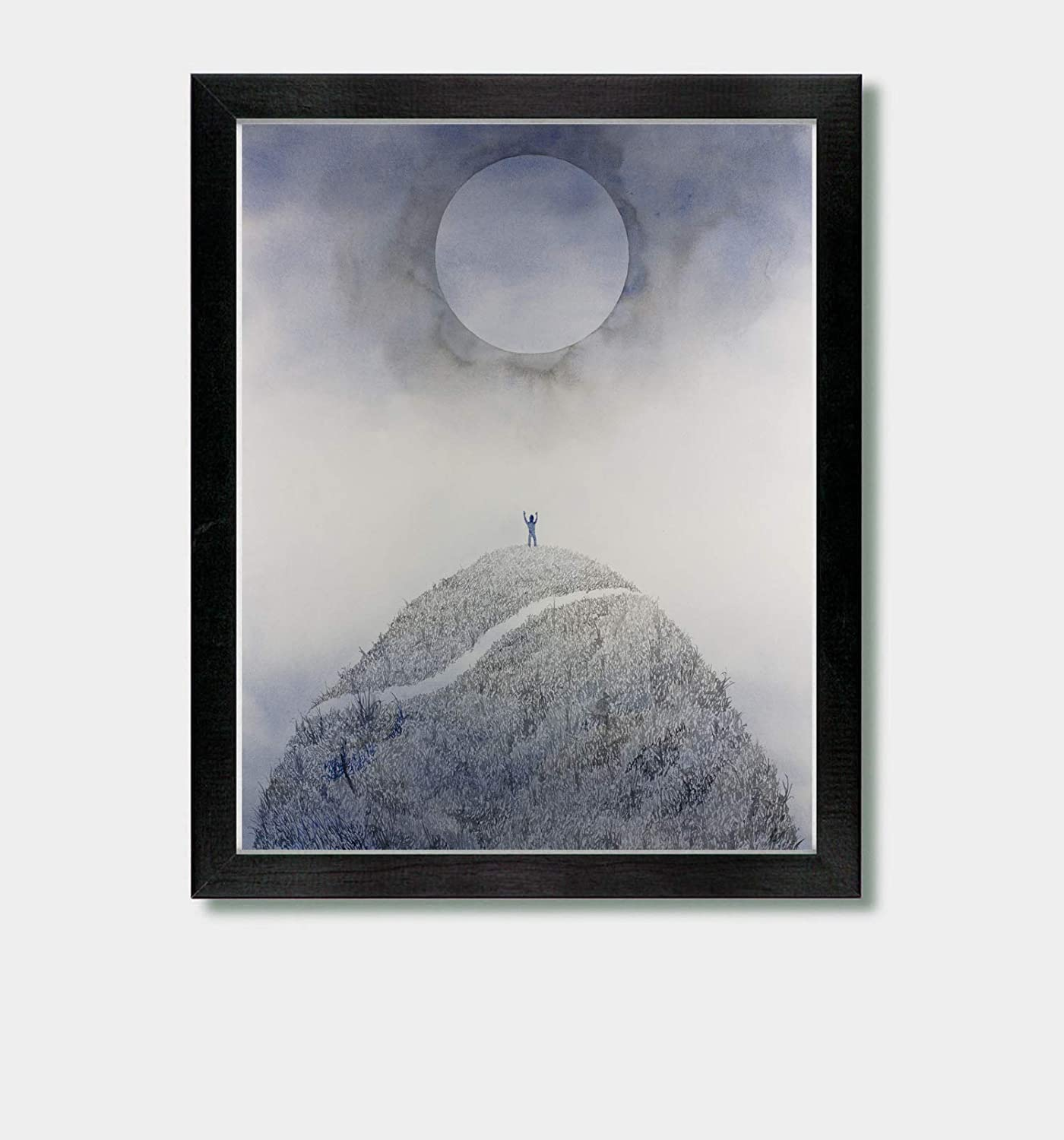 Summon and Seek - by Artist Jason Smith - Celestial Art, Inspirational Art, Moon Print, Moon Art, Luna Print, Hiking Print, Alan Watts, Yoga Decor, Spiritual Print, Celestial Decor, Nature Print