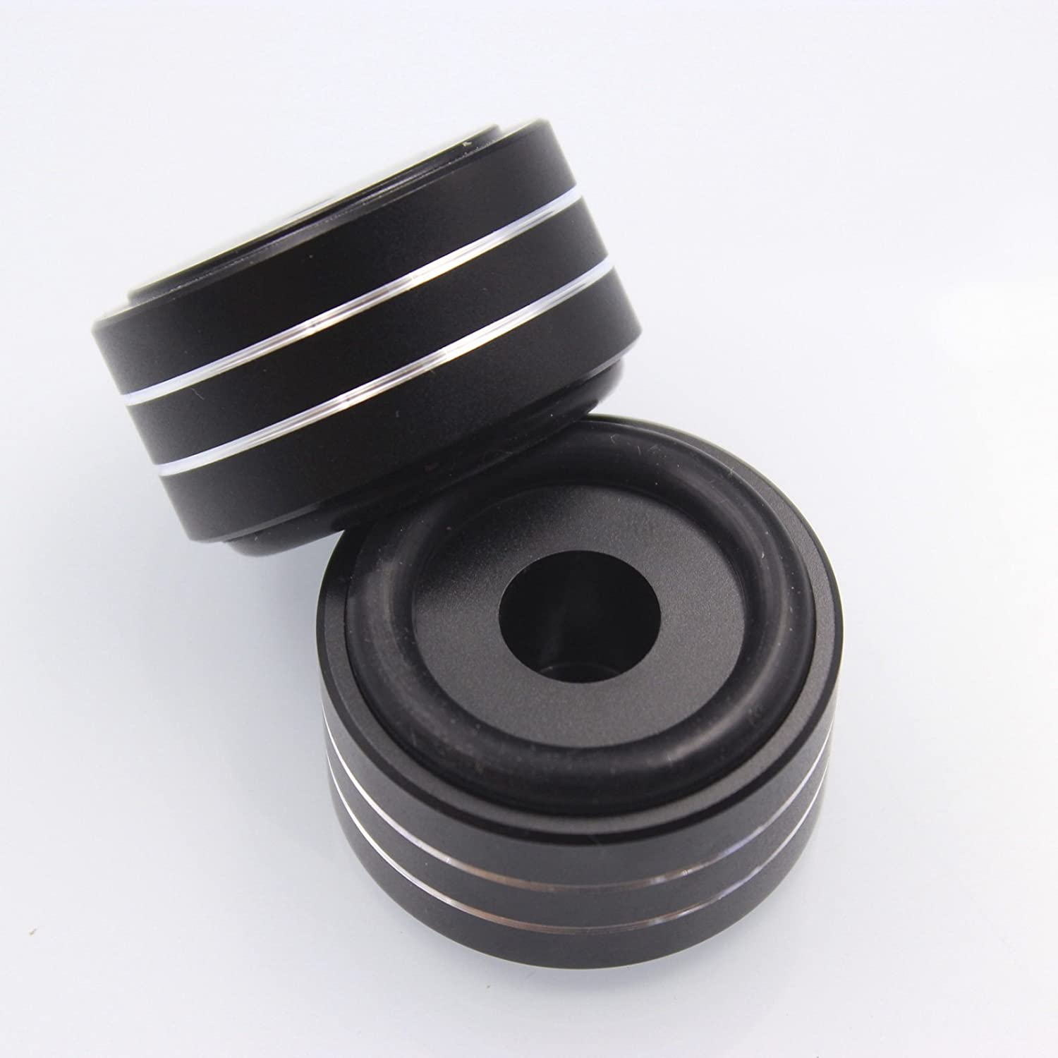 GD-PARTS Machined Solid Full Aluminum Speaker Isolation Feet Stand Pad For Amplifiers DAC Cabinet 40x20mm Black Set of 4