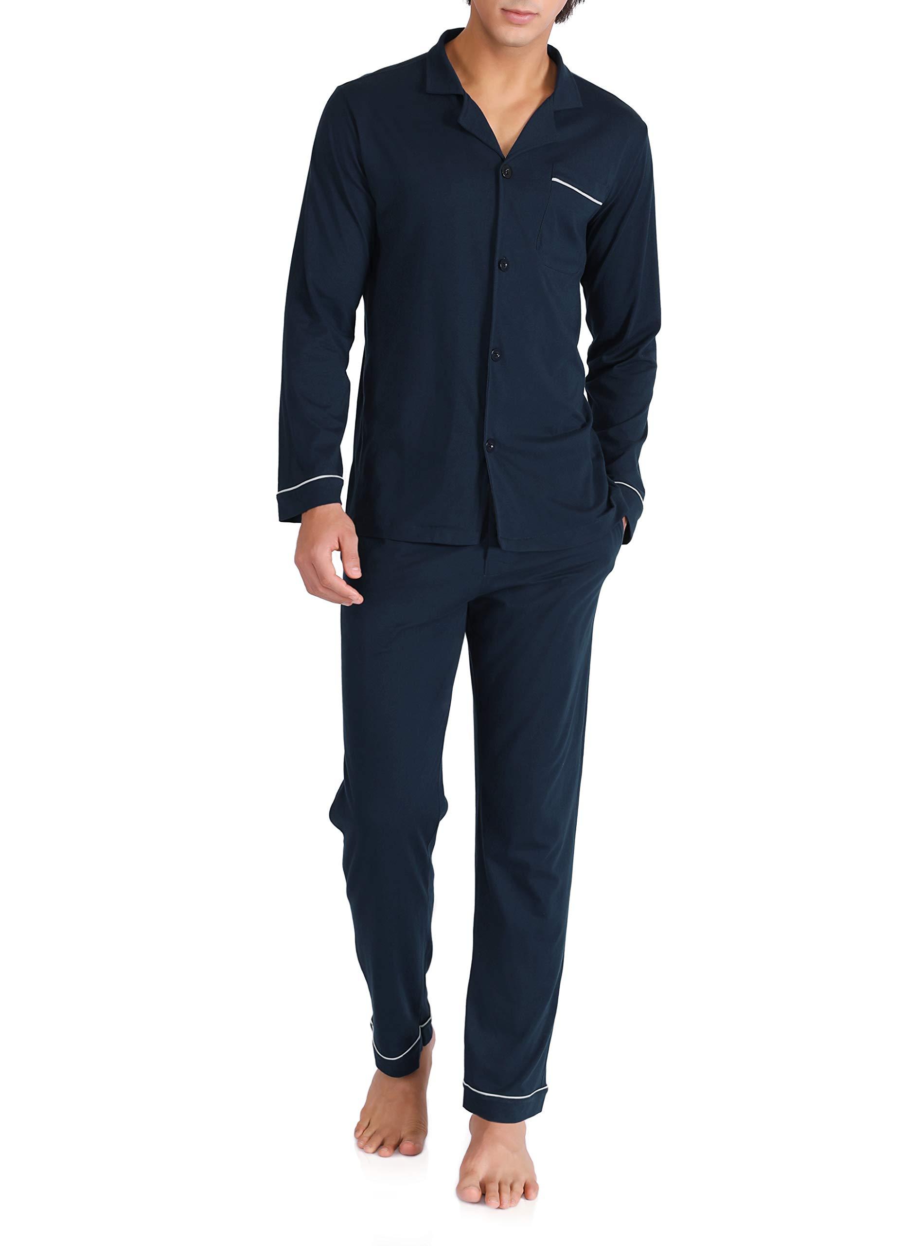 David Archy Men's 100% Cotton Long Button-Down Sleepwear Pajama Set (XL, Navy Blue)
