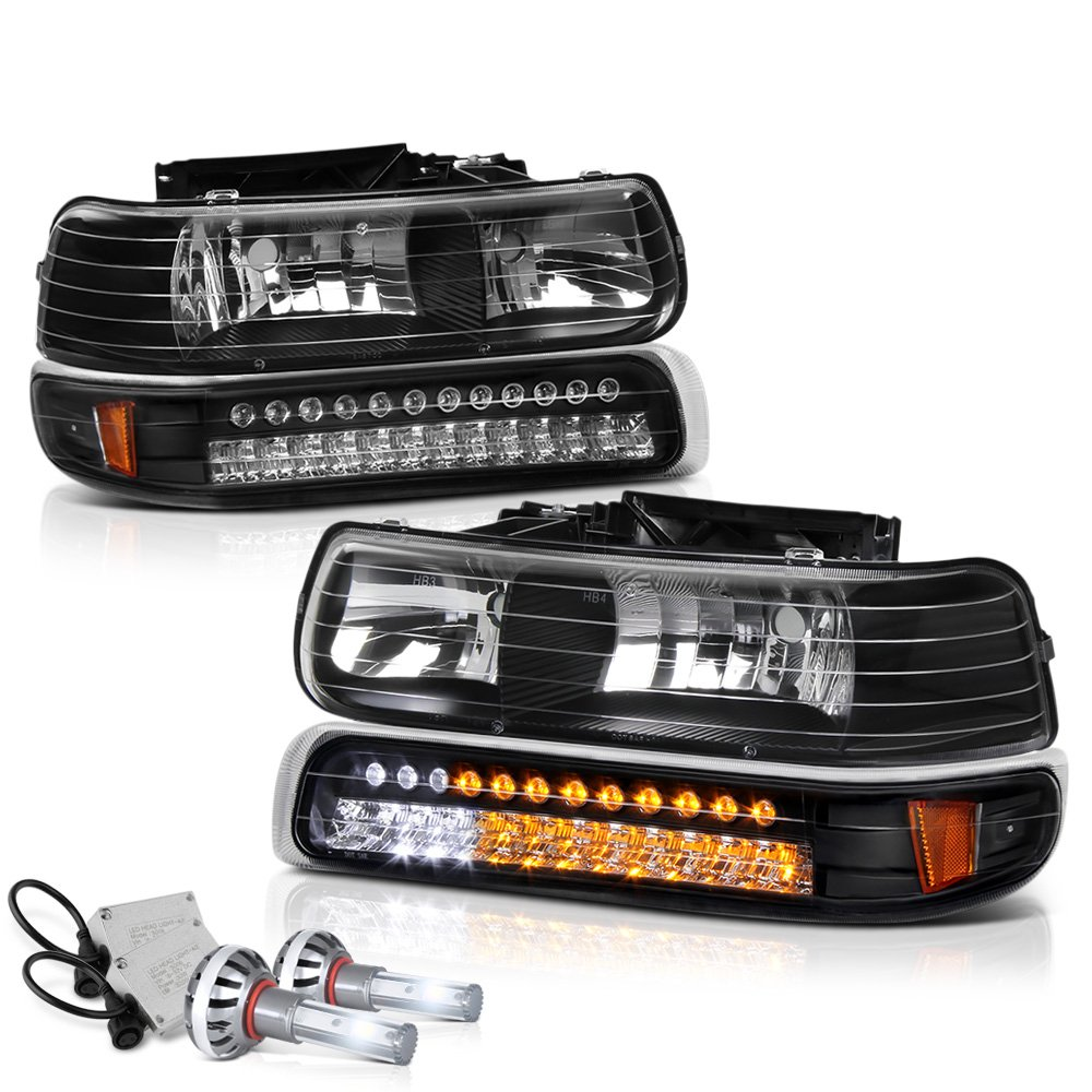 VIPMOTOZ For 1999-2002 Chevy Silverado 1500 2500 3500 Headlights - Built In Cree LED Low Beam, Matte Black Housing, LED Daytime Running Lamp Strips, Driver and Passenger Side