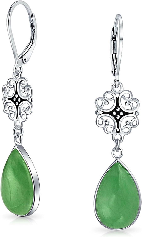 Teñido Verde Jade Lágrima Filigranaforma Pera, Buena Fortuna Palanca Hacia Atrás Pendiente Plata Esterlina 925 Mujer