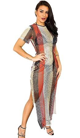 74fe6c1484b Sedrinuo Women s Short Sleeve Rainbow Swimwear Cover Ups Long Dress  Swimsuit Cover Up Side Split Bathing Suits at Amazon Women s Clothing store