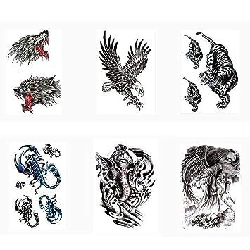Calcomanías De Tatuajes Para Adultos, Lobo, Águila, Tigre ...