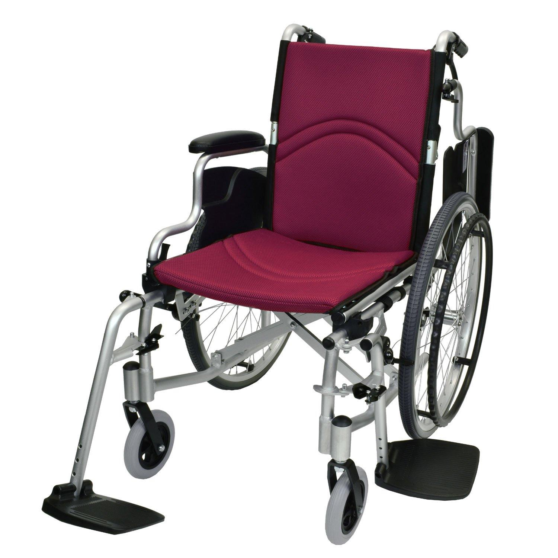 ケアテックジャパン 自走式 アルミ製 折りたたみ 車椅子 コンフォート CAH-50SU ワインレッド(メッシュ) B0732NKM53 ワインレッド(メッシュ) ワインレッド(メッシュ)