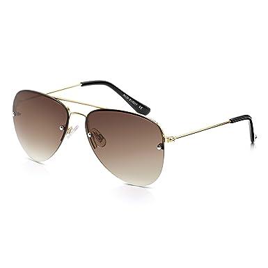 d5f3b4acaf93 Sunglass Junkie Gold Aviator Sunglasses for Men   Women. 100% UV Protection  Brown Gradient