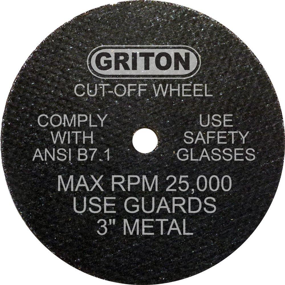 Griton CA3032 Arbor Industrial Cut Off Wheel for Metal, 1/4'' Hole Diameter, 3'' Diameter, 0.040'' Width (Pack of 50)