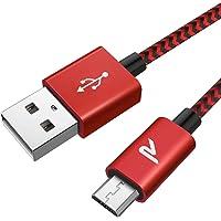 Rampow Câble Micro USB [2m/6.5ft] - Charge / Synchro Ultime Rapide  - Câble USB Nylon Tressé en Fibre 2.4A - Rouge et Noir