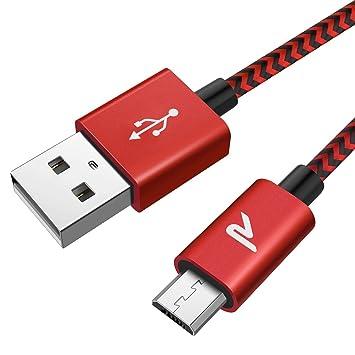 Cable Micro USB, RAMPOW 2M Cargador Micro USB 2.4A Carga Rápida Cable USB -GARANTÍA DE POR VIDA- Compatible con Android, Samsung, HTC, Huawei, Xiaomi, ...