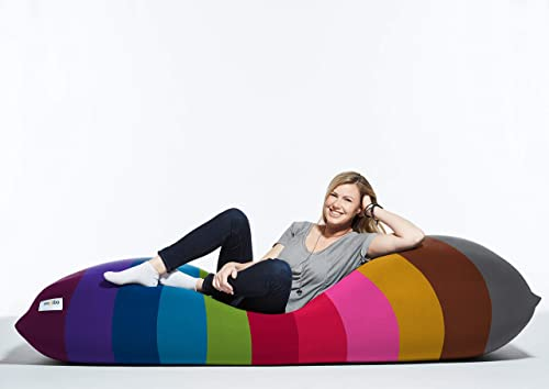 Yogibo Max 6-Foot Beanbag Chair, Bean Bag Couch with a Washable Outer Cover, Customer Favorite Cozy Sofa for Gaming, Reading, and Relaxing, Filled with Soft Micro-Beads, Rainbow Bright