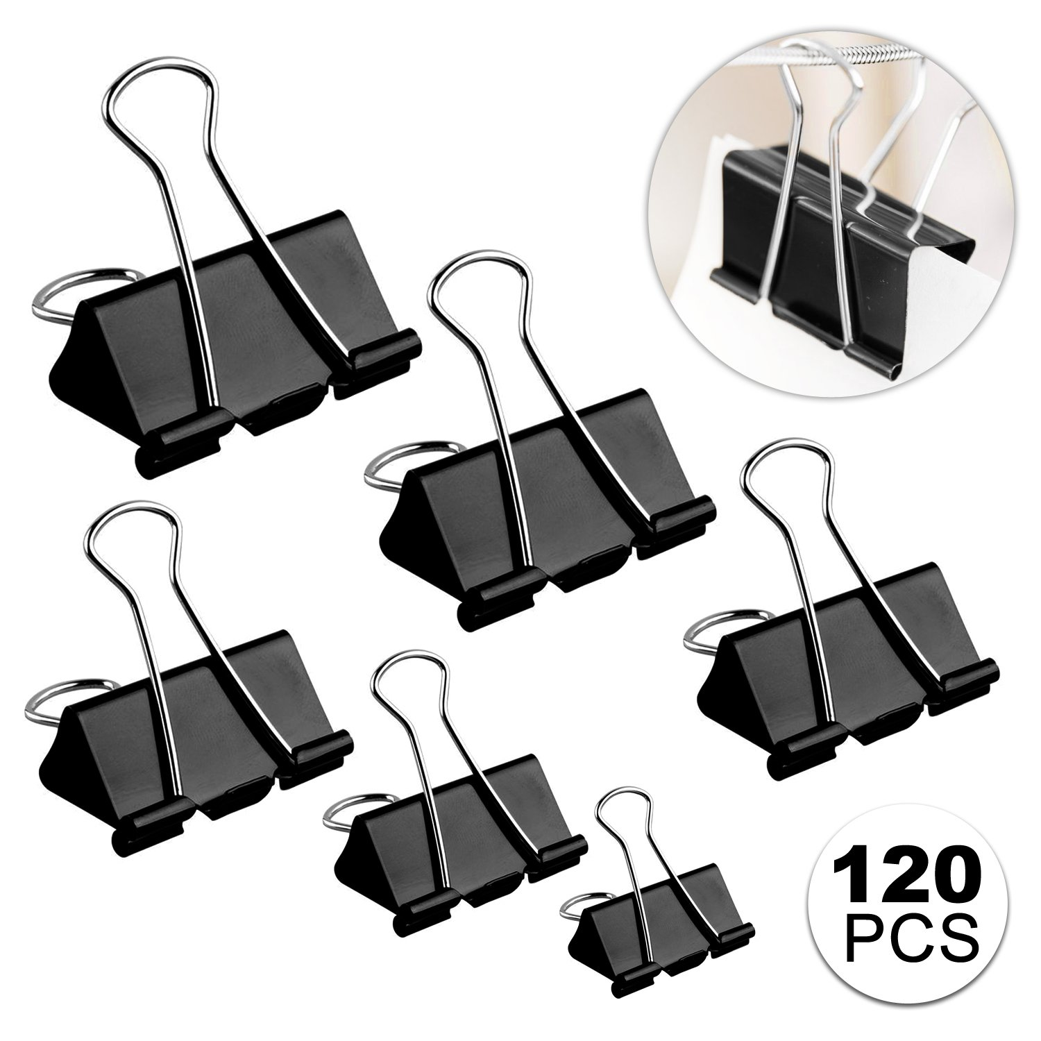 Clips Paper Clamp, Aodoor Binder Clips Assorted Sizes Micro Mini Small Medium and Large, Black (120-Pack)