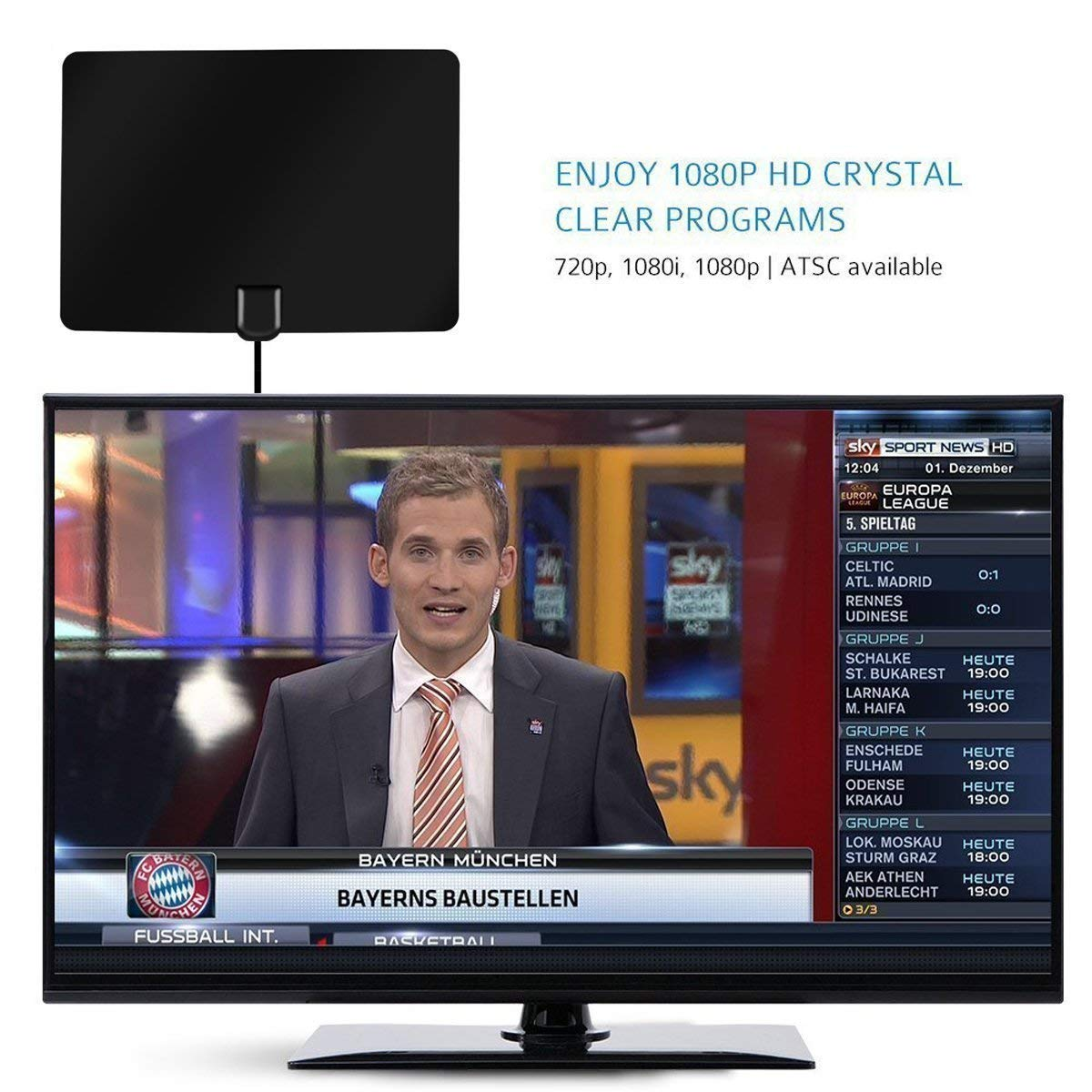 8be514b6e7dd8 Edaona TV Aerial HDTV Antenna Amplified Indoor TV: Amazon.co.uk: Electronics