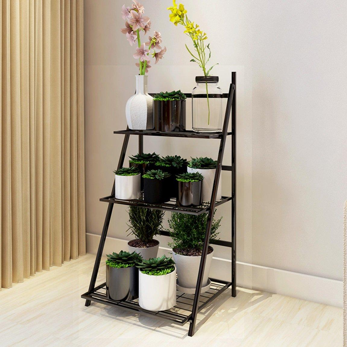 LRW European Flower Rack, Meaty Green Lour, Chlorophytum, Indoor Folding Flower Shelf, Multi Floor Landing Flower Rack, Black.