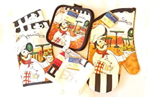 Home Coll Chef Themed 7 Piece Kitchen Linen Bundle Includes 2 Dish Towels, 2 Potholders, 2 Dish Clothes and 1 Oven Mitt (Italian Pasta Chef)