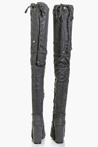 66721a83c3b Boohoo Womens Sadie Block Heel Tie Back Thigh High Boots in Grey size 5