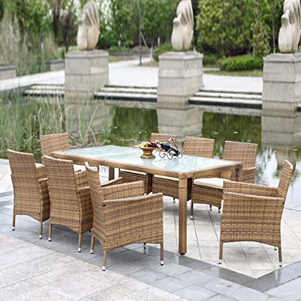 Amazon.com: iKayaa 9PCS Outdoor Dining Set Wicker Patio Table and ...
