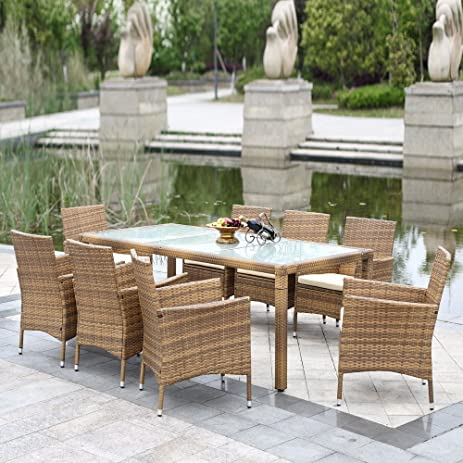 IKayaa 9PCS Outdoor Dining Set Wicker Patio Table And Chairs Furniture Set