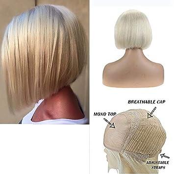 Amazon Com Ugeat 14 Inch Mono Top Wigs Blonde Pre Plucked Short