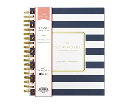image regarding Day Designer Daily Planner referred to as Working day Designer for Blue Sky 2019 Day by day Every month Planner, Multipurpose Frosted Address, Dual-Cord Binding, 8\