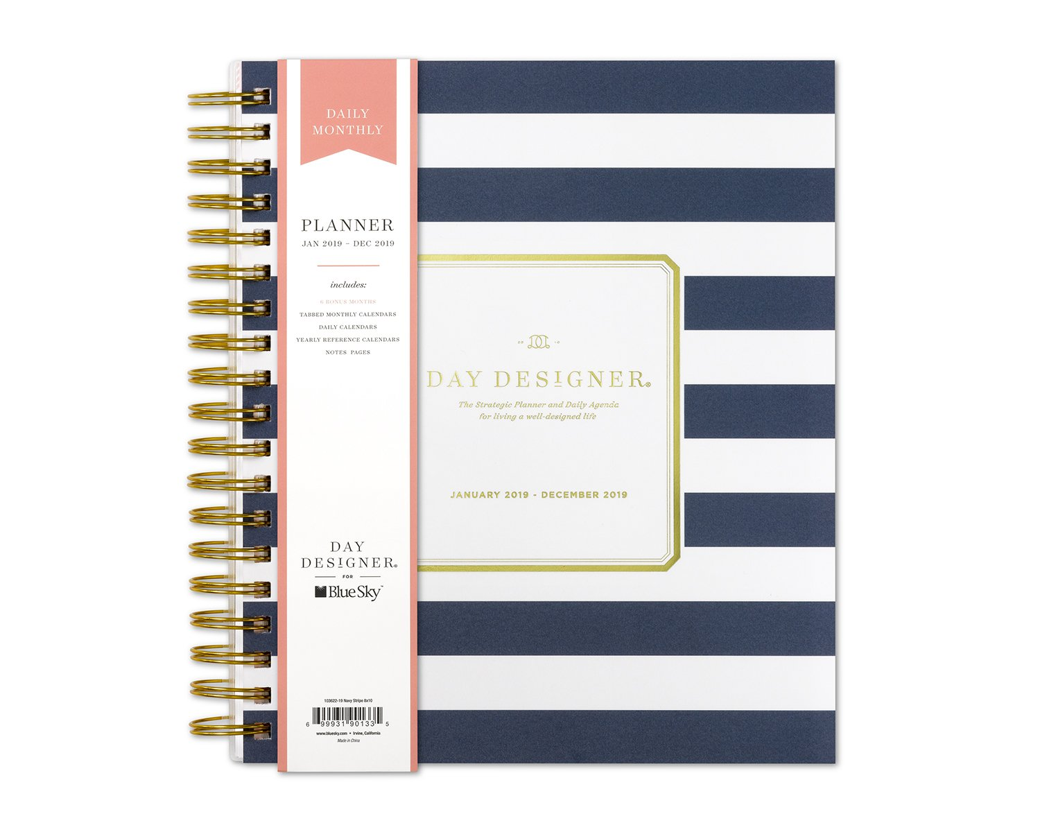 Day Designer for Blue Sky 2019 Daily & Monthly Planner, Flexible Frosted Cover, Twin-Wire Binding, 8'' x 10'', Navy Stripe