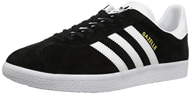 adidas Originals Men's Gazelle Lace-up Sneaker,Black/White/Gold Met,