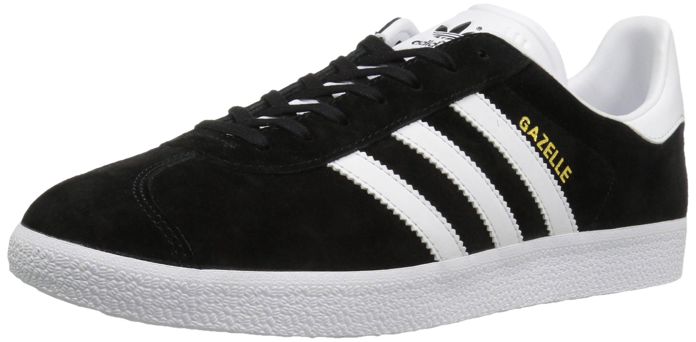 adidas Originals Men's Gazelle Lace-up Sneaker,Black/White/Gold Met,9.5 M US