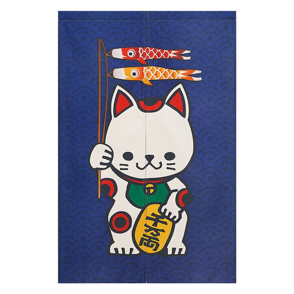 BAIHT HOME Cotton Linen Cute Maneki Neko Japanese Noren Doorway Curtain with Lucky and Fortune Cats Pattern Tapestry Divider Bedroom Blackout Door Curtain Panel£¬33.5'' x 47.2''