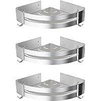 Yorbay doucheplank zonder boring, driehoekige badkamerrek van aluminium met haken, 3 stuks in één set