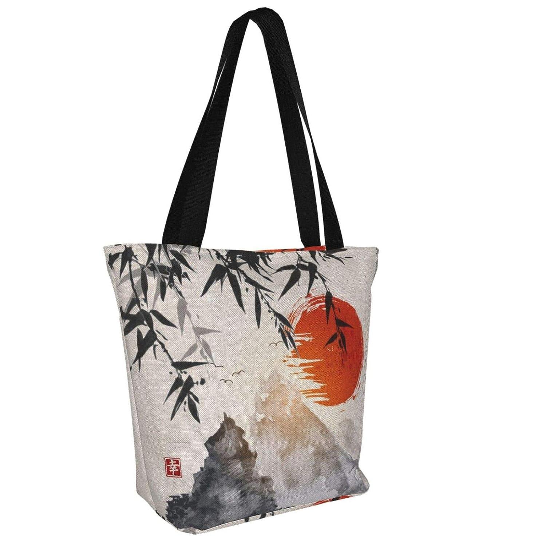 Pabst blå band öllogga kvinnor stor storlek kanvas axelväska hobo crossbody handväska ledig bärkasse Japanese Bamboo Trees Sun and Mountains