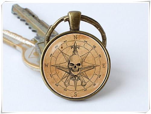 Amazon.com: Llavero pirata antigua brújula llavero Pitare ...