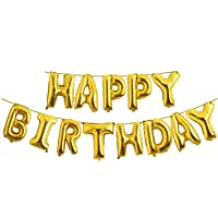 Fecedy Gold Hanging Happy Birthday Balloons Banner for party decorations