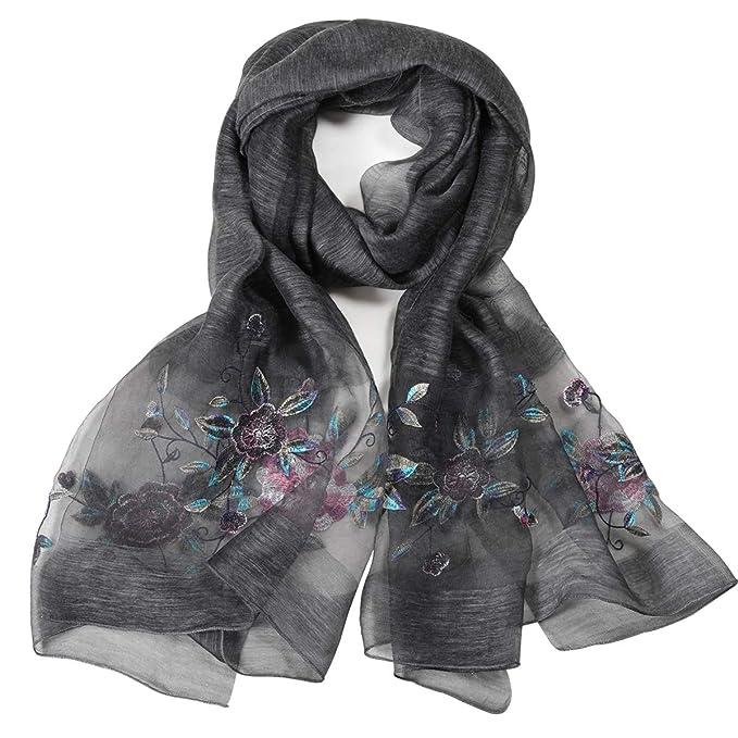 Amazon.com: Bufanda larga de seda con estampado bordado para ...