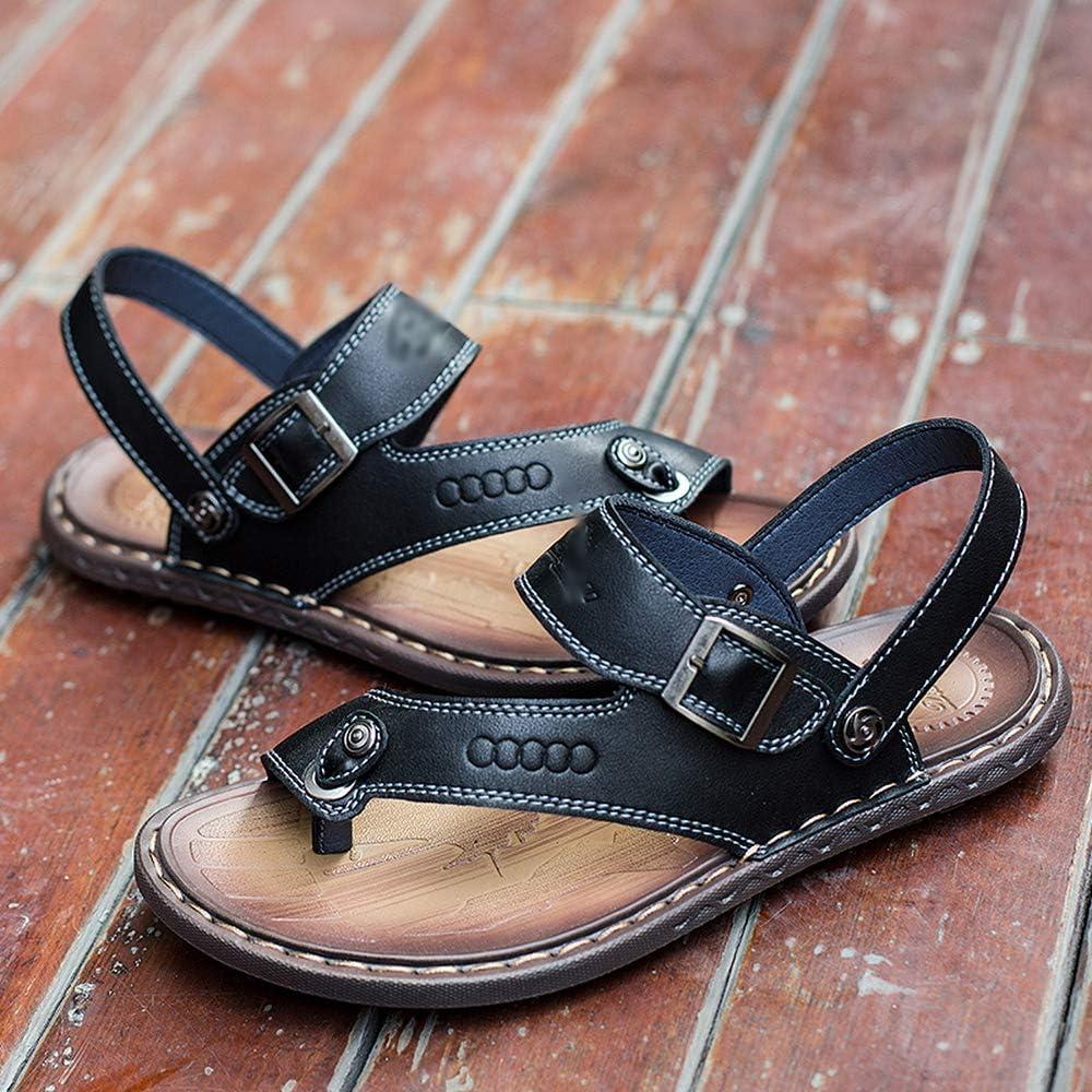 Elibone Plus Size 38-46 Summer Beach Breathable Men Sandals Leather Mens Sandals Outdoor Shoes Slippers,Blue,9