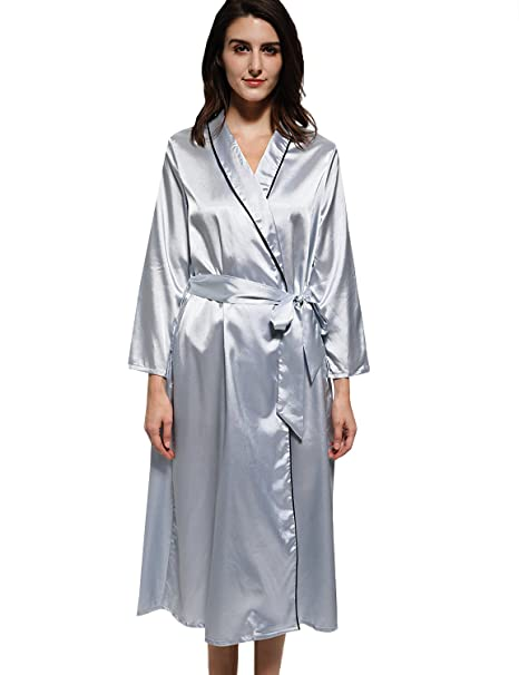 9d7ab211aa999 Mobisi Womens Long Satin Robe Long Sleeve V Neck Pocket Kimono Bathrobe  Sleepwear Loungewear at Amazon Women s Clothing store