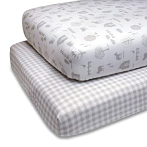 The Peanutshell Fitted Crib Sheet Set for Baby Boys or Girls | 2 Pack Sheets in Plaid & Farm Themes | Fits Standard Crib Mattresses