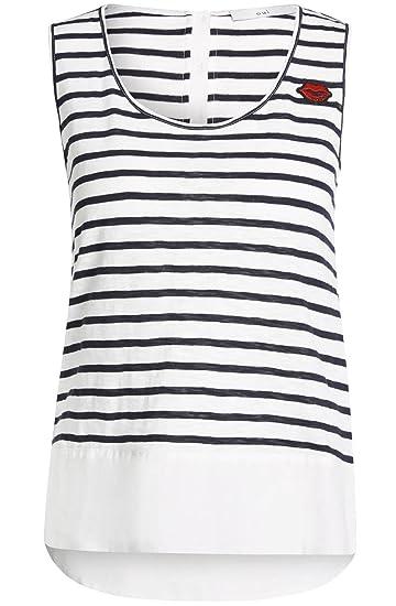 758ef2a144dd59 Oui Striped Layered Sleeveless Tank Top 10 White  Amazon.co.uk  Clothing