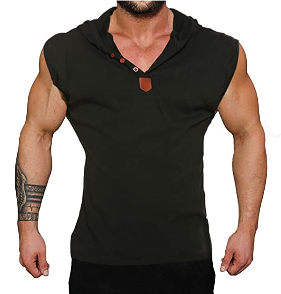 b6c3eba707039 Amazon.com  COOFANDY Men s Casual Gym Hooded Sleeveless Tank Tops ...