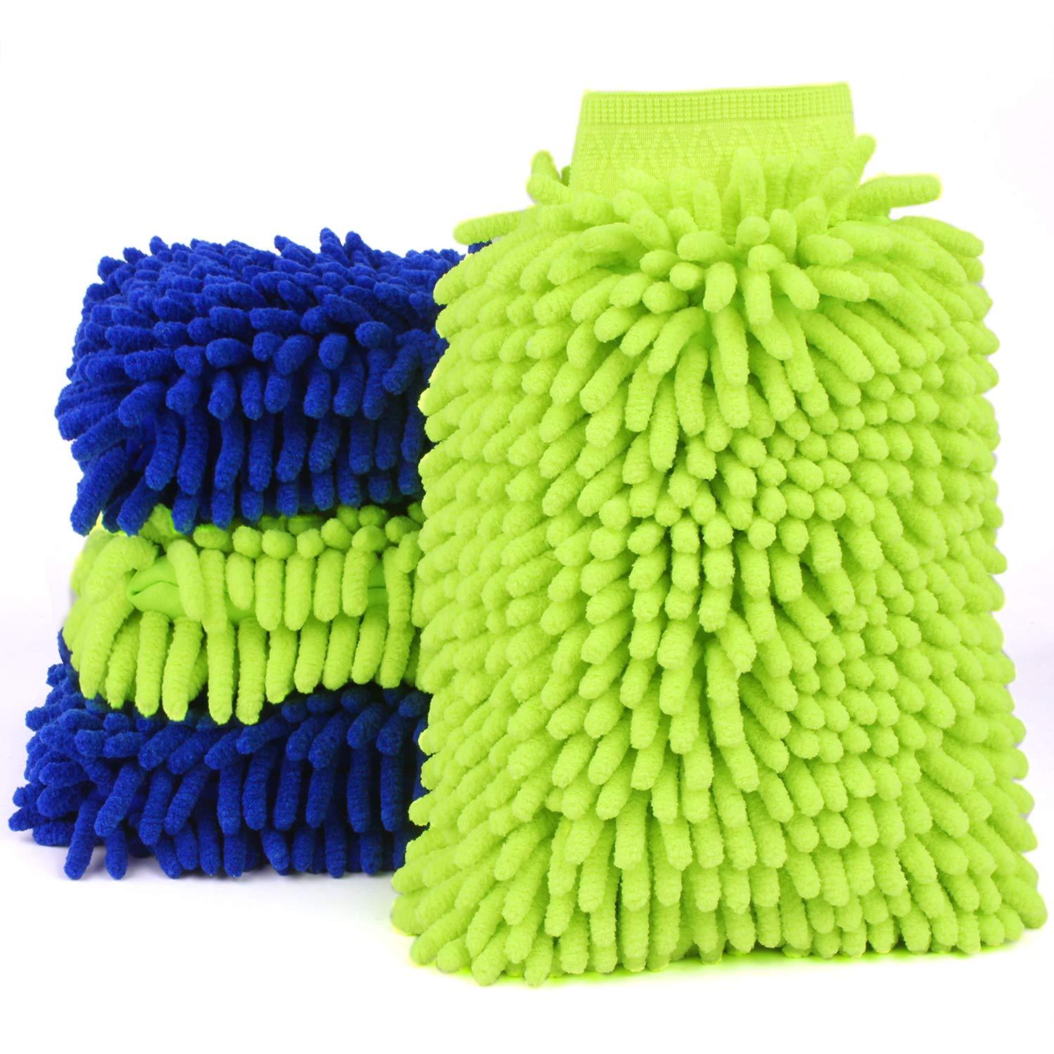 Car Wash Mitts Extra Large Size Winter Water Proof Premium Chenille Microfiber Car Wash Mitt Lint Free Scratch Free (4 Pack Green 2 + Blue 2)
