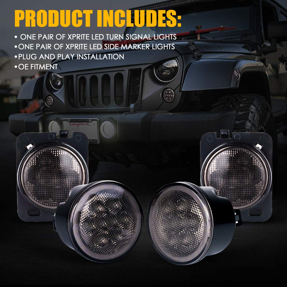 Xprite LED Clear Lens Turn Signal Lights with Halo DRL and Parking Function /& Front Fender Side Marker Amber Light Assembly Replacement Combo for 2007-2018 Jeep Wrangler JK /& Wrangler Unlimited