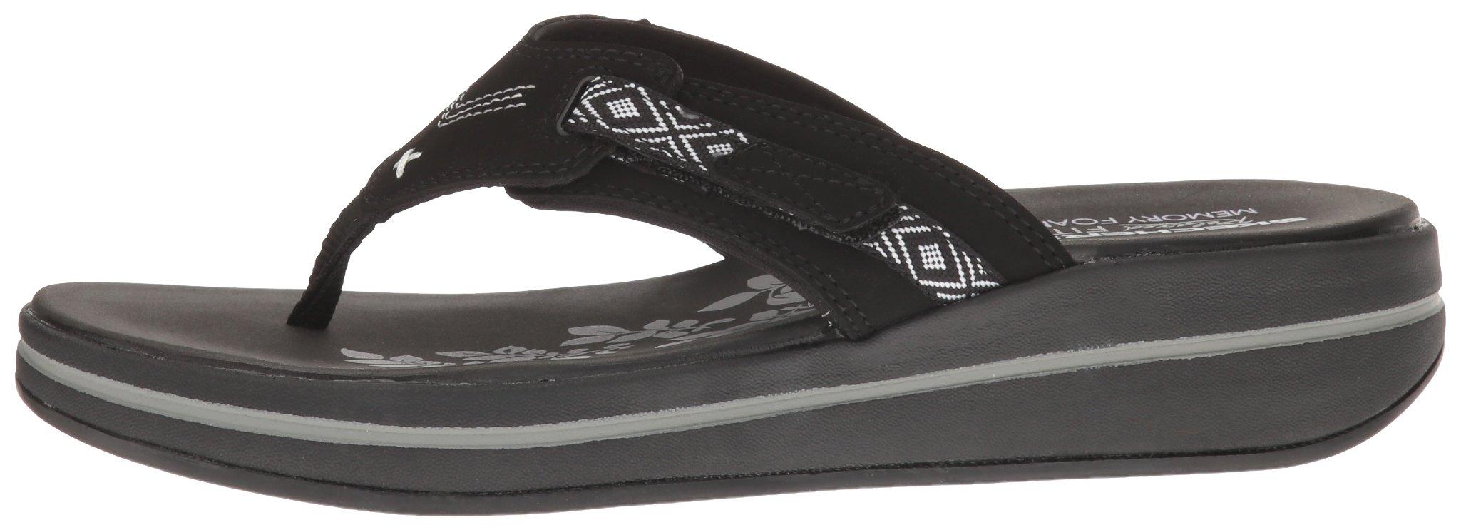 Skechers Modern Comfort Sandals Women's Upgrades Marina Bay Flip Flop Black/White, 8 M US by Skechers (Image #5)
