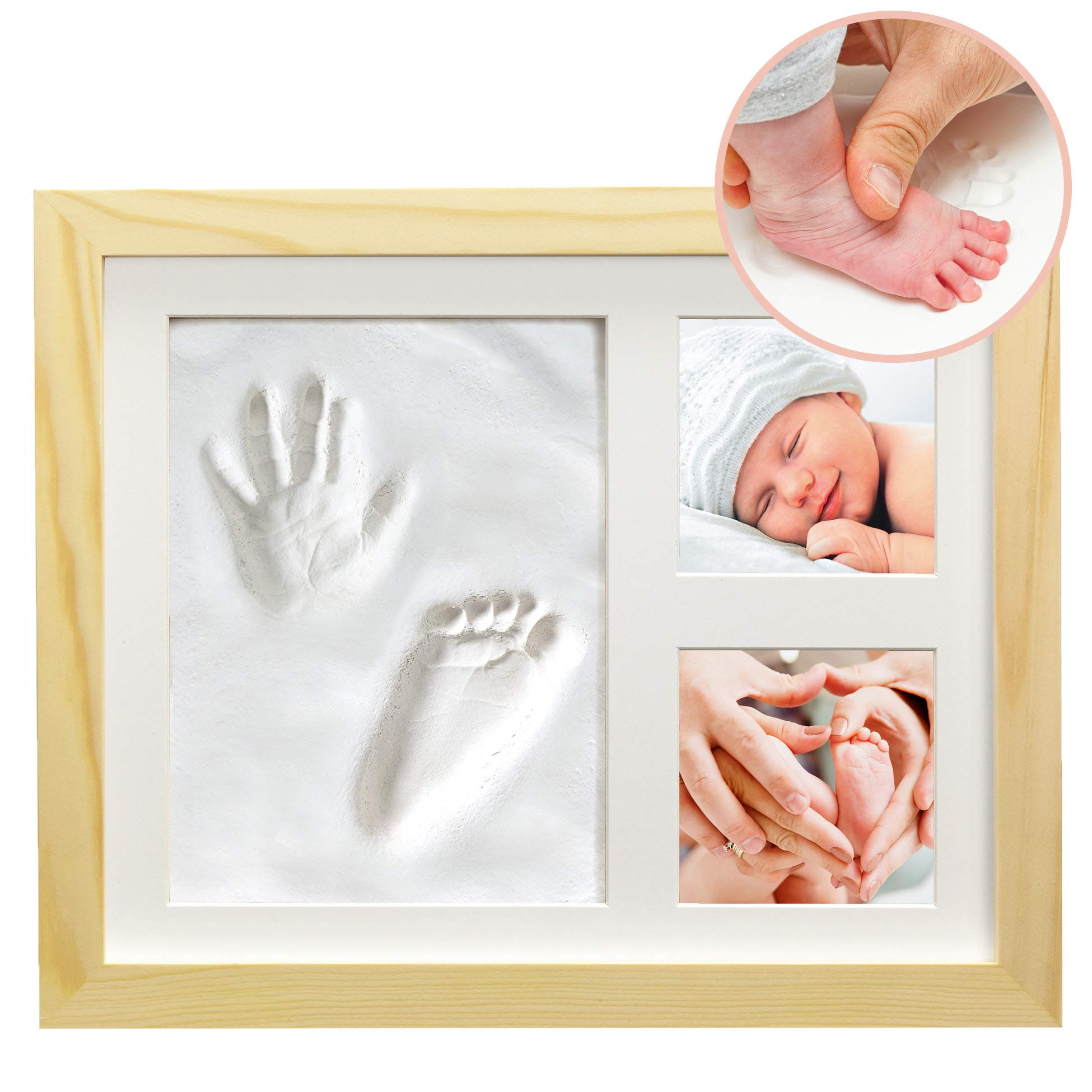 "Clay Hand/Footprint Photo Frame for Babies, Kids, and Pets – Includes 9"" x 11"" Natural Wood Colored MDF Photo Frame, Roller, Mounting Hardware, and Instructions -''Pose''ies"