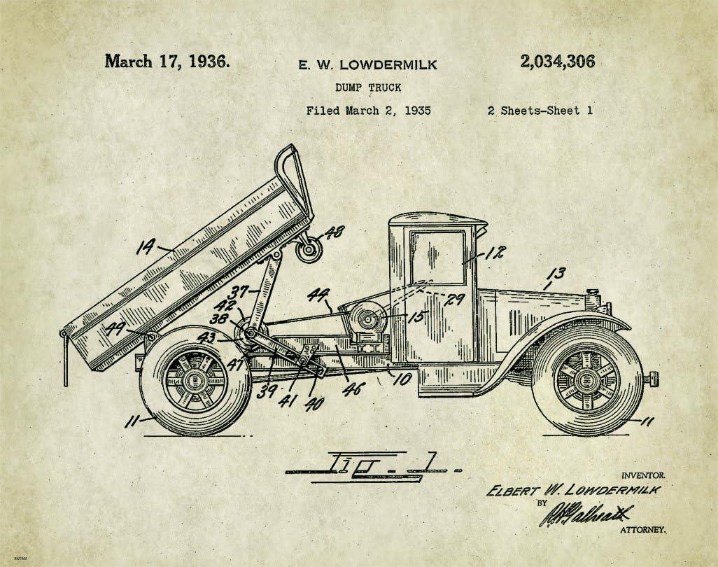 Dump Truck Patent Art Print Poster  Construction Equipment Vintage Parts  PAT365