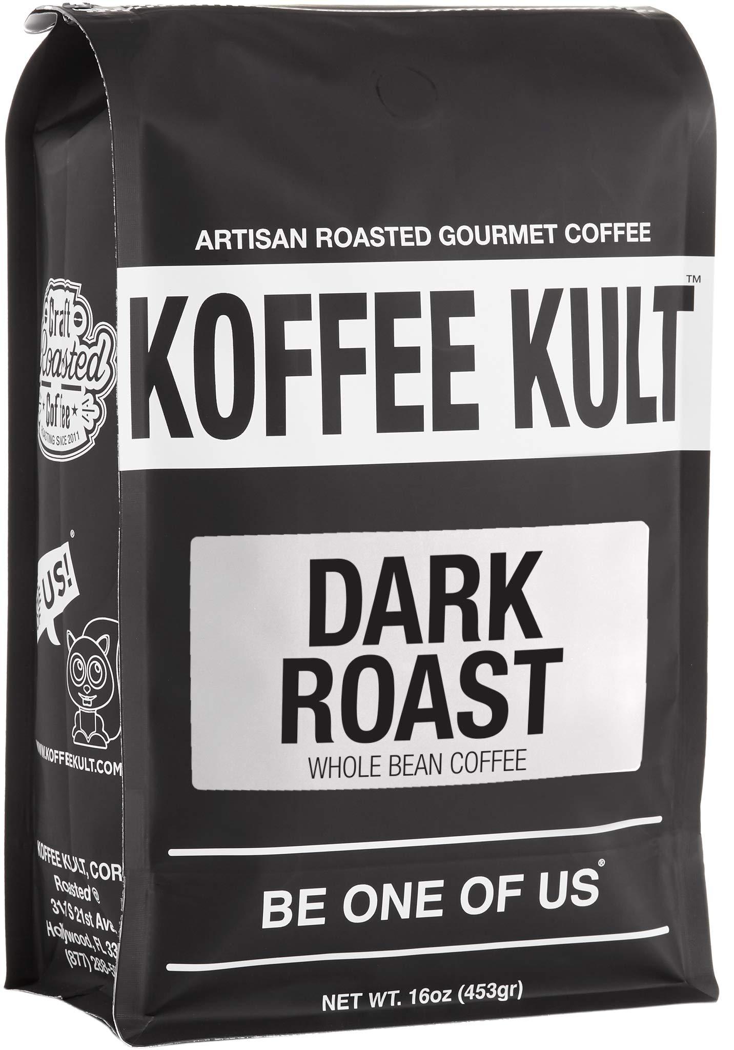 Koffee Kult DARK ROAST COFFEE (16oz) Highest Quality Delicious Specialty Grade Whole Bean Coffee - Fresh Gourmet Aromatic Artisan Blend by Koffee Kult