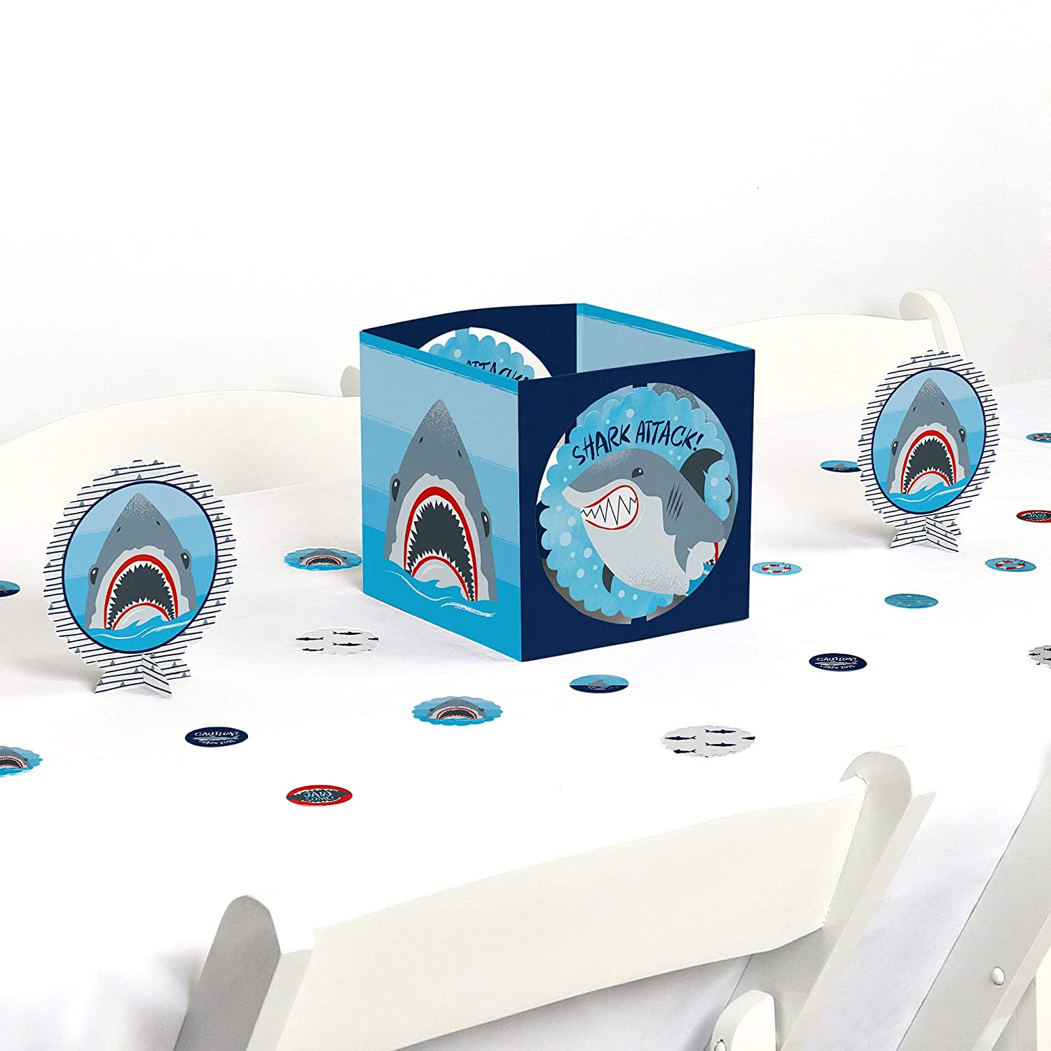 Big Dot of Happiness Shark Zone - Jawsome Shark Party or Birthday Party Centerpiece & Table Decoration Kit